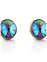 Lureme® Vintage Jewelry Time Gem Series Fluorescent Big Butterfly Antique Bronze Stud Earrings for Women and Girls