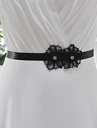 Satin Wedding / Party/ Evening / Dailywear Sash-Appliques / Floral Women's Sashes  black and ivory