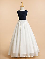 A-line Floor-length Flower Girl Dress - Chiffon Scoop with Draping