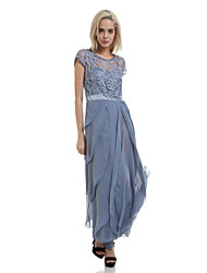 Women's Party/Cocktail Dress,Solid Maxi Short Sleeve Blue / Beige Summer