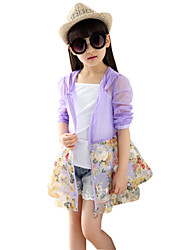 Girl's Sunscreen Fabrics Summer Flower Pattern Long Sleeve Thin Coat