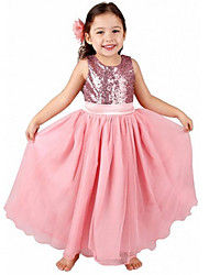 Girl's Cotton Summer Paillette Rose Decoration Full Dress