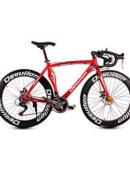 dequilon Aluminium Rennrad 21/18/16 Muskel Machete-Speed-Scheibenbremsen 21-Gang Sport-rot hell