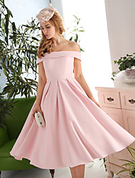 Cocktail Party Dress A-line Off-the-shoulder Tea-length Satin / Polyester with Draping