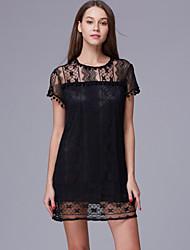 2015 new fashion women white lace mini dress casual o-neck short sleeve patchwork tassel dresses