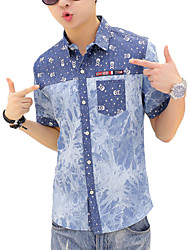 M- 3XL Plus Size High Quality Men's Solid Skull Short Sleeve Denim shirts Top,Cotton / Polyester Casual / Sport