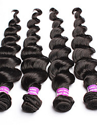 "4Pcs Lot 12""-30"" Unprocessed Raw Mongolian Virgin Hair Loose Wave Natural Black Remy Human Hair Weave/Wefts Bundles"