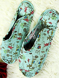 Women's Shoes Cotton Flat Heel Slippers / Closed Toe Slippers Casual Multi-color