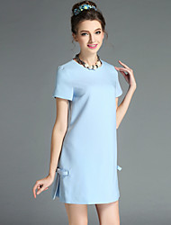 Summer Fashion Women Charming Elegant Temperament Bow Patchwork Split Short Sleeve Plus Size Dress
