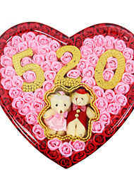 Birthday Wedding Holiday Gift Romantic 92pcs Love Roses Soap Flowers With Couple Bear  Box