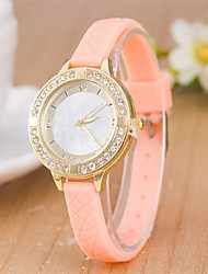 L.WEST Ladies' Diamonds Silicone Quartz Watch