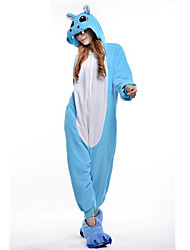 kigurumi Pyjamas New Cosplay® Hippopotame Collant/Combinaison Fête / Célébration Pyjamas Animale Halloween Bleu Mosaïque Polaire Kigurumi