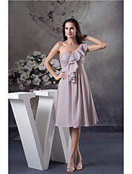 Knee-length Chiffon Bridesmaid Dress A-line One Shoulder with Ruching