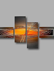 "Stretched (Ready to hang) Hand-Painted Oil Painting 68""x40"" Canvas Wall Art Modern Abstract Home Deco Orange Grey"