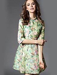Women's Casual/Daily Street chic Sheath Dress,Floral Stand Above Knee ½ Length Sleeve Green Silk Summer