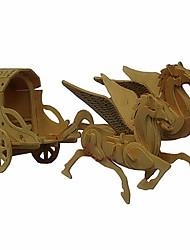 Quebra-cabeças Quebra-Cabeças 3D / Quebra-Cabeças de Madeira Blocos de construção DIY Brinquedos Transporte Madeira BegeModelo e Blocos