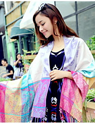 Spring And Summer Jcquard Fringed Scarves Oversized Shawl Long Scarf(Random Color)