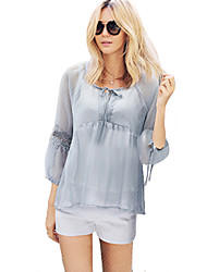 Women's Going out Plus Size / Street chic Blouse,Solid Round Neck ¾ Sleeve Blue Cotton / Polyester Thin