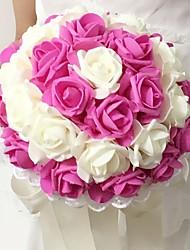 """Bouquets de Noiva Redondo Rosas Buquês Casamento / Festa / noite Espuma 9.84""""(Aprox.25cm)"""