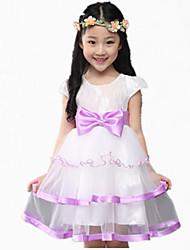 Girl's Pink / Purple / Beige Dress,Ruffle / Lace Cotton