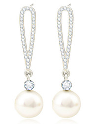 18K Gold Crystal Pearl Security Quality Drop Earrings Jewelry for Wedding Party