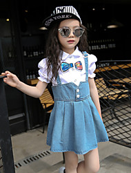 Girl's Cotton Summer Bowknot Shirt Suspender Dress Two-piece Suit