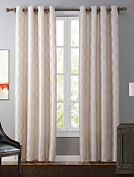 One Panel Modern Geometic Beige Bedroom Polyester Blackout Curtains Drapes