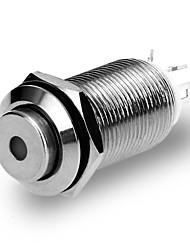 2.5v de metal botão interruptor levou prata empurrar luz 12 milímetros de auto-travamento