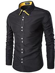 Men's Long Sleeve Shirt,Cotton Casual / Sport Color Block