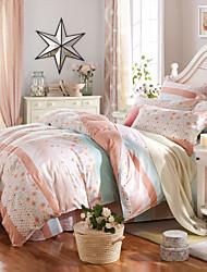 Jade-green 100% Cotton Bedclothes 4pcs Bedding Set Queen Size Duvet Cover Set