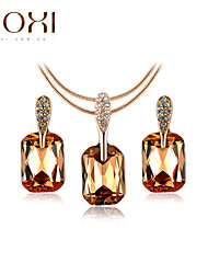 Lady's Gold Crystal Jewelry Set include Necklace  & Earrings for Gift