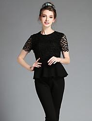 Women's Fashion Vintage Elegant Plus Size Hollow Lace Patchwork Ruffle Blouse+Pencil Pants Two Piece Set