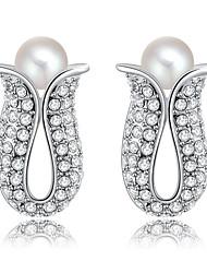 Women's Fashion Flowers Set Auger PearlStud Earrings