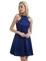Women's Black/Royal Blue Mini Dress, Haliter Swing Design