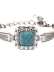 Bohemia Folk Style Silver Vintage Turquoise Square Lace Bracelet