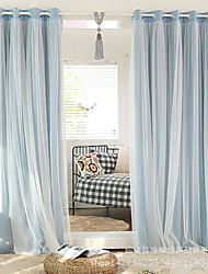 Two Panels Modern Solid Living Room Polyester Blackout Curtains Drapes