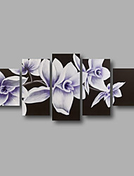 """Stretched (ready to hang) Hand-painted Oil Painting 60""""x32"""" Canvas Wall Art Modern Flowers White Black"""