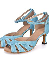 Для женщин-Лак-Персонализируемая(Синий / Зеленый / Фиолетовый / Серый) -Танец живота / Латина / Джаз / Модерн / Самба / Обувь для свинга