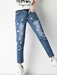 Women's Solid Blue Jeans / Harem Nine Pants,Casual / Day / Simple Hole Fashion Loose Thin College Wind
