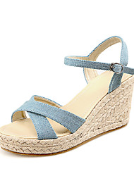 Women's Shoes Leatherette Wedge Heel Wedges Sandals Casual Blue