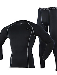 Arsuxeo Men's Long Sleeve Base Layer Suits Compression Jerseys Breathable+Quick-Drying Tights