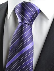 New Purpe White Dot Line Classic JACQUARD Mens Tie Necktie Wedding Gift KT0010