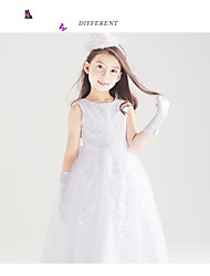 Ball Gown Floor-length Flower Girl Dress-Cotton / Satin / Tulle / Rayon Sleeveless