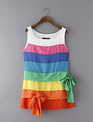 Women's Casual/Daily Street chic Chiffon Dress,Patchwork Round Neck Above Knee Sleeveless Multi-color Polyester Summer