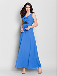 Ankle-length Chiffon Bridesmaid Dress A-line Cowl with Crystal Detailing