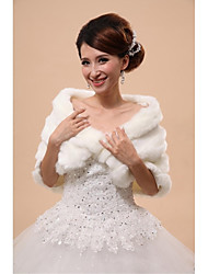 Wedding  Wraps / Fur Vests / Hoods & Ponchos Capelets Sleeveless Faux Fur White Wedding / Party/Evening Off-the-shoulderButton / Draped /