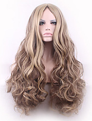 In the Fashion Points and Long Curly Hair Scalp Gradient Golden Brown Synthetic Fiber Wig Caps