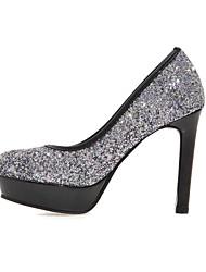 Wedding Shoes-Saltos-Saltos / Arrendondado-Prateado / Dourado-Feminino-Casamento / Social / Festas & Noite