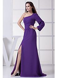 Floor-length Chiffon Bridesmaid Dress Sheath/Column Notched