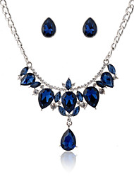 Women's Blue Gem Zircon Necklace&Earrngs Jewelry Set for Wedding Party